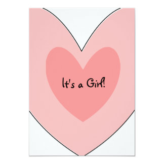 Pink Heart Baby Shower Invitation