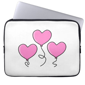 Pink Heart Balloon with Black Outline. Laptop Sleeve