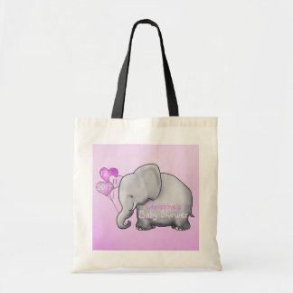 Pink Heart Balloons Elephant Baby Girl Shower Tote Bag