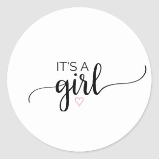 Pink Heart | Black Calligraphy It's A Girl Classic Round Sticker