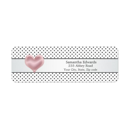 Pink heart black polka dot Avery Label