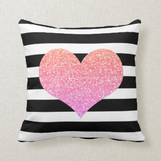 Pink Heart Black & White Stripes Pillow Cushion