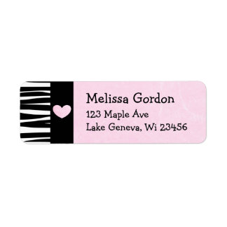 Pink Heart Black Zebra Stripes Return Address