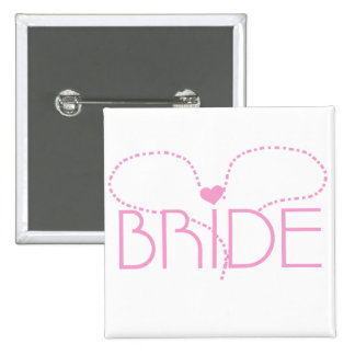 Pink Heart Bride T-shirts and Gifts Buttons