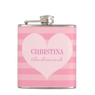 Pink heart bridesmaid elegant personalized hip flask