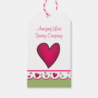 Pink Heart Business Product Tags