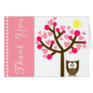 Pink Heart Cherry Blossom Owl Thank You Card Greeting Card
