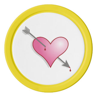 Pink Heart Clay Poker Chips, Yellow Solid Edge Poker Chips