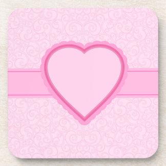 pink heart coaster