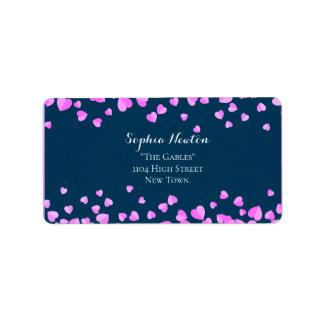 Pink heart confetti wedding address label