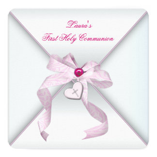 Pink Heart Cross Girls Pink First Communion Card