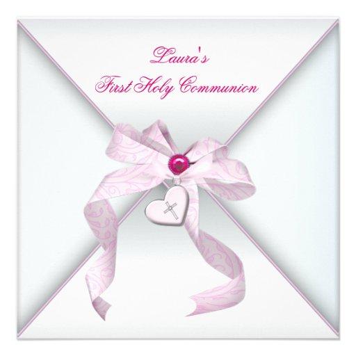 Pink Heart Cross Girls Pink First Communion Custom Invite