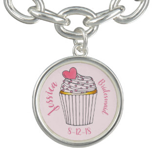 Pink Heart Cupcake Personalized Bridal Party Gift Bracelet