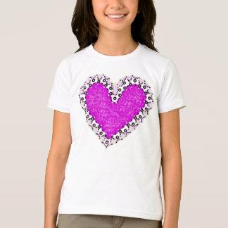Pink Heart Cutout Girls T-Shirt
