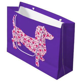 Pink Heart Dachshund Large Gift Bag