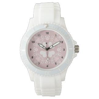 Pink Heart Damask Watch