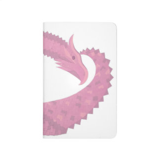 Pink heart dragon on white journal