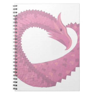 Pink heart dragon on white notebook