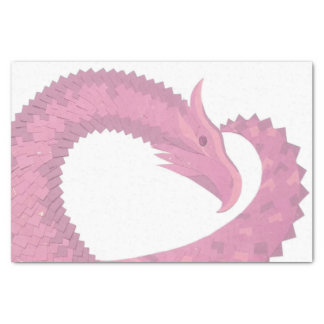 Pink heart dragon on white tissue paper