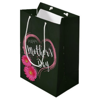 Pink Heart Flowers Mother's Day - Medium Gift Bag