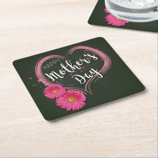 Pink Heart Flowers Mother's Day - Paper Coaster