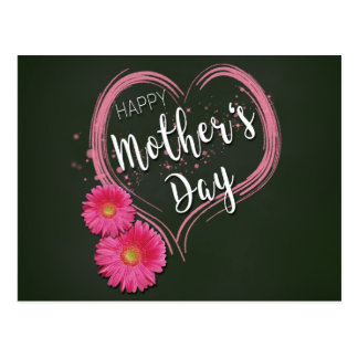 Pink Heart Flowers Mother's Day - Postcard