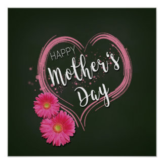 Pink Heart Flowers Mother's Day - Poster Print