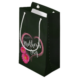 Pink Heart Flowers Mother's Day - Small Gift Bag