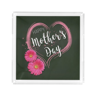 Pink Heart Flowers Mother's Day - Square Tray
