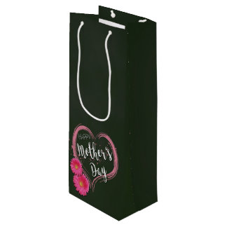 Pink Heart Flowers Mother's Day - Wine Gift Bag