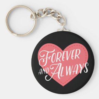 Pink Heart Forever Love Black -Wedding Engagement Keychain