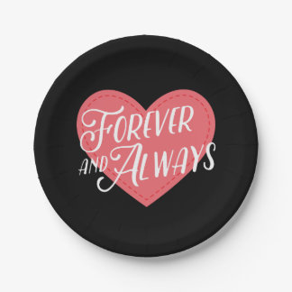 Pink Heart Forever Love Black Wedding, Engagement Paper Plate