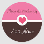 """Pink Heart """"from the kitchen of"""" Sticker"""