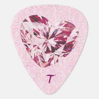 Pink Heart Gem Guitar Pick