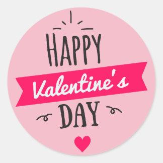 pink heart happy valentines day classic round sticker - Valentines Day Stickers