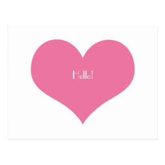 Pink Heart Hello Simple Chic Minimalist Greeting Postcard