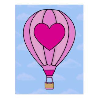 Pink Heart Hot Air Balloon Postcard
