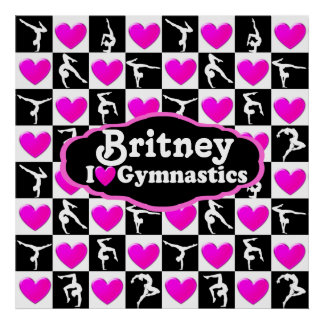 PINK HEART I LOVE GYMNASTICS PERSONALIZED POSTER