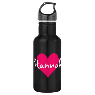 Pink Heart I Love Hannah 532 Ml Water Bottle