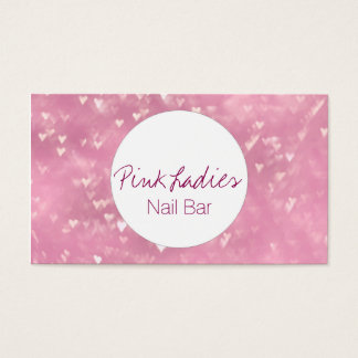 Pink heart lights pattern Nail Bar beautician Business Card