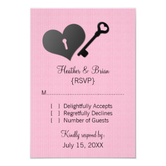 "Pink Heart Lock and Key Response Card 3.5"" X 5"" Invitation Card"
