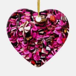 Pink Heart Locks Ceramic Ornament