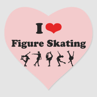Pink Heart Love Figure Skating Stickers