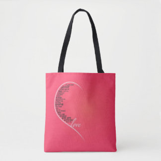 Pink Heart Love Quote Tote Bag