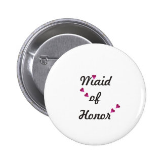 Pink Heart Maid of Honor 2 Inch Round Button
