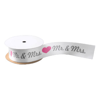 Pink Heart Mr. & Mrs. Wedding Satin Ribbon