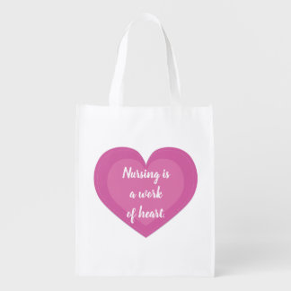 Pink Heart Nurse Gift Reusable Grocery Bag