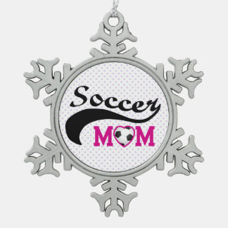 Pink Heart O Soccer Mom Pewter Snowflake Ornament