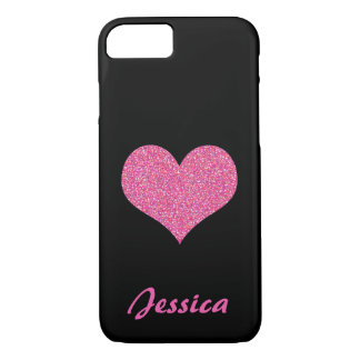 Pink Heart on Black Personalized Girly Name iPhone 7 Case