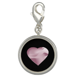 Pink Heart on Black Photo Charms